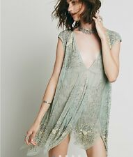 FREE PEOPLE DEEP SLEEP BEADED EMBELLISHED SLIP DRESS Green Rare Sequin