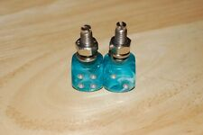 DUDDS DICE AQUA SWIRL w/SILVER DOTS LICENSE PLATE BOLTS (SET OF 2)
