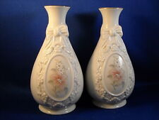 Set Of[2] Royal Heritage Collection Cameo Ribbon Porcelain Vases Made In Taiwan