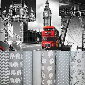 """FABRIC GREY *LONDON* 100% Cotton Fabric Material By The Metre 63"""" Wide"""