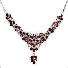 Sterling Silver 925 Genuine Natural Rich Garnet Cluster Necklace 17.5 Inch