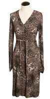 CAbi Brown Print Wrap Style Stretch Career Dress Flattering Cut Dot XS #658