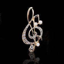 Fashion Women's Crystal Pearl Musical Note Brooch Pin Scarf Clip Wedding Jewelry