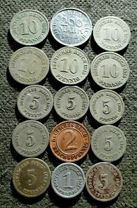 LOT OF FIFTEEN OLD COINS OF GERMANY (GERMAN EMPIRE & WEIMAR REPUBLIC) - MIX 1113