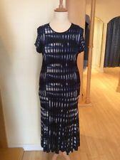 Aldo Martins Dress Size 18 BNWT Navy Blue Cream Ribbed Knit RRP £168 NOW £67