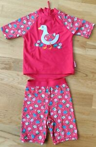 Immaculate JoJo Maman Bebe 1-2 year girl 2 piece sun protection suit duck floral