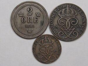 3 Better-Grade Coins of Sweden: 1882 - 2 ORE, 1915 - 2 ORE & 1923 1 ORE.  #8