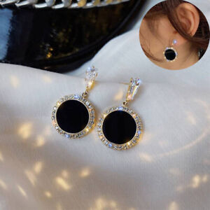 Earrings Flat Black silver Fashion With Gold Rim and Gem Detailing