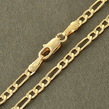 3mm figaro 24k Gold Filled mens womens long Curb link necklace chain boys 20in