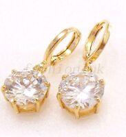 Women Dangle Hoop Earrings 18K Gold Plated Clear Simulated Diamond UK