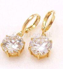 fashion1uk Women 18K Gold Plated Clear Simulated Diamond Dangle Hoop Earrings