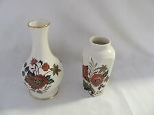 Royal Worcester lot of two mini vases Palissy England gold blue green rust red