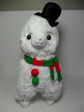 """Merry Christmas"" Alpacasso White Alpaca Top Hat & Scarf 45cm Plush Arpakasso"