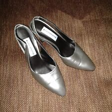 Women Liz Claiborne shoes slingback matte gold/silver leather sz 7.5Medium High