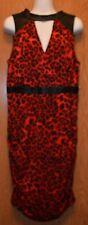 Womens Red Leopard Print Thalia Sodi Sleeveless Dress Size Large NWT NEW $89