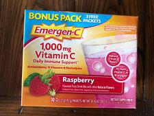 Emergen-C 1,000 mg Vitamin C Raspberry Immune Support Bonus Pack 33 Packets