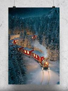 Christmas Train At Night Poster -Image by Shutterstock