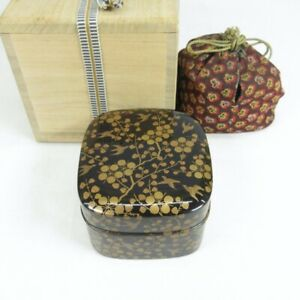 D0430: High-class Japanese old lacquer ware incense case with wonderful MAKIE