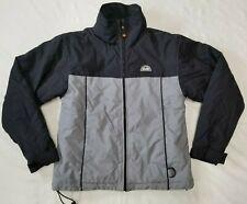 Ellesse full-zip parka jacket youth sz M black/gray vintage tuck away hood