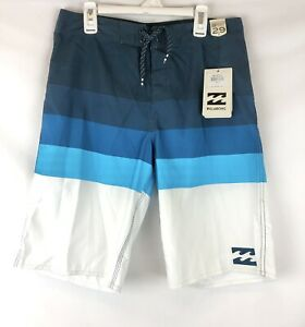 Billabong, Boy's Midway Blue/White Boardshorts, Size 18