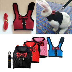 Pet Soft Mesh Harness With Leash Small Animal Lead for Rabbit Bunny Mesh Cloth K