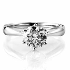 Diamond Engagement Ring GIA certified Solitaire 6 Prong Style 1.00 CT Round 18K