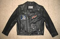 Harley Davidson FMC Insulated Black Leather Motorcycle Biking Jacket Women Sz 14