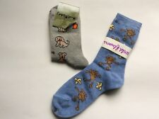 2 PAIRS LADIES NOVELTY SOCKS * DOGS/FIRE HYDRANT AND MONKIES * BLUE/GRAY