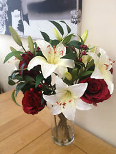 STUNNING RED ROSE & IVORY LILY LARGE ARTIFICIAL FLOWER VASE ARRANGEMENT & WATER