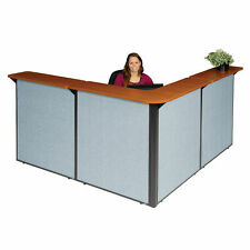 80w X 80d X 44h L Shaped Reception Station Cherry Counterblue Panel