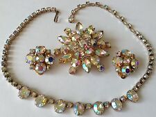 VINTAGE WEISS SIGNED BRILLANT BOREALIS RHINESTONE NECKLACE BROOCH & EARRINGS W3