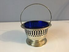 Silver Plated Miniature Bonbon Dish/Basket with Pierced Pattern and Blue Glass