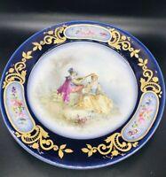 Antique Sevres Porcelain Cobalt Blue Porcelain Plate