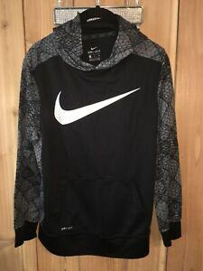 Nike Dri Fit Boys Black,Gray & White Sweatshirt w Hoodie Size XL