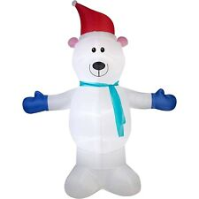 Airblown Inflatable Polar Bear with Scarf 10 Ft Christmas Decorations Outdoor