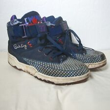 PATRICK EWING Vintage Blue Suede Shoes Athletic High Top Sneakers Lace Up Men 12