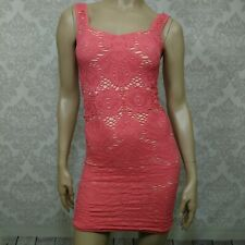 Intimately Free People Stretch Lace Bodycon Mini Dress Sleeveless Size M L Coral