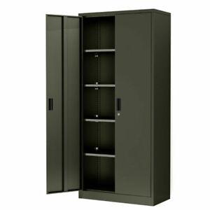 Home Office Steel Storage Cabinet Locker Cupboard w/4 Adjustable Shelves Kitchen