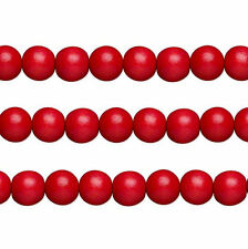 Wood Round Beads Red 8mm 16 Inch Strand