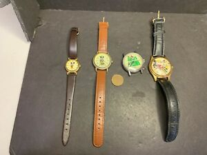 4 Vintage Mickey Mouse Watches: Swiss Bradley Tennis, Classic Adventures Japan,