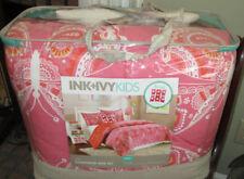 INK&IVY Twin Comforter Set 3PC FLORAL pink orange