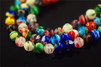 6mm 8mm 10mm Round Colorful Flower Millefiori Glass Beads Loose Spacer Findings