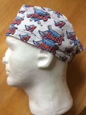 Surgical Scrub Hat Cap Made w Anaheim Angels MLB Fabric