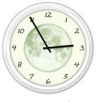 GLOW IN THE DARK MOON Wall Clock - Stars Astronomy - BEDROOM GREAT GIFT