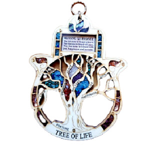 Bluenoemi Hamsa with the Tree of Life Wall Hanging for Home Protection & Luck