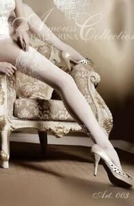 Ballerina ART 003 Bridal Hold Ups Thigh-Highs White Luxury Hosiery