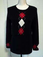 McDuff Black Argyle 100% Cashmere Crew Neck Sweater Sz S ~Excellent~