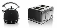NEW Swan Kitchen Appliance Retro 1.8L BLACK Dome Kettle & 4 Slice Toaster Set