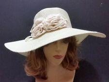 Off White Floppy Straw Hat Summer Sun Beach Spring Wide Brim Flower Ruffle