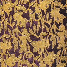 Drapery Upholstery Fabric Chenille Leaves / Vines Floral - Gold on Royal Purple